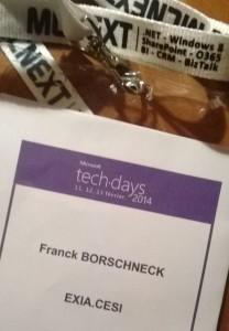 Badge d'accès aux Microsoft TechDays 2014