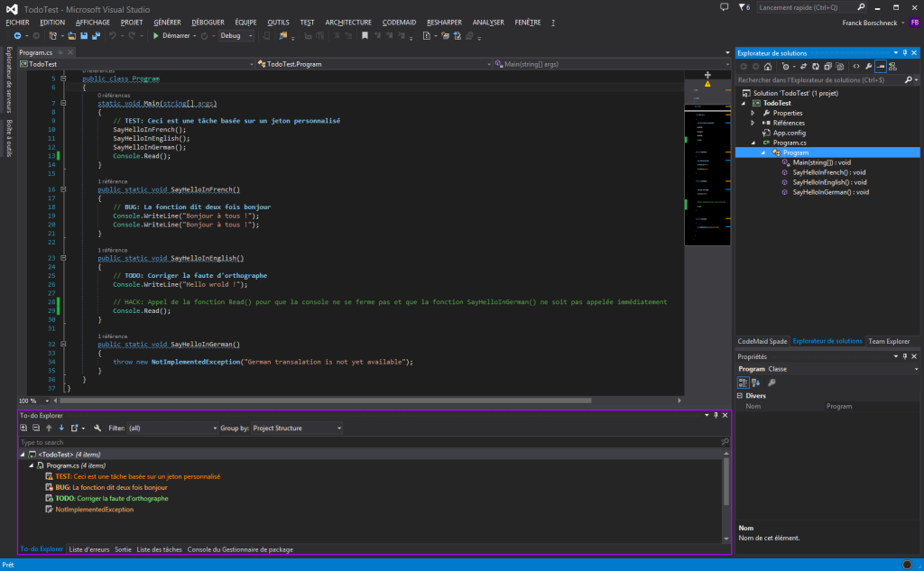 To-do Explorer sur Visual Studio 2013 avec ReSharper