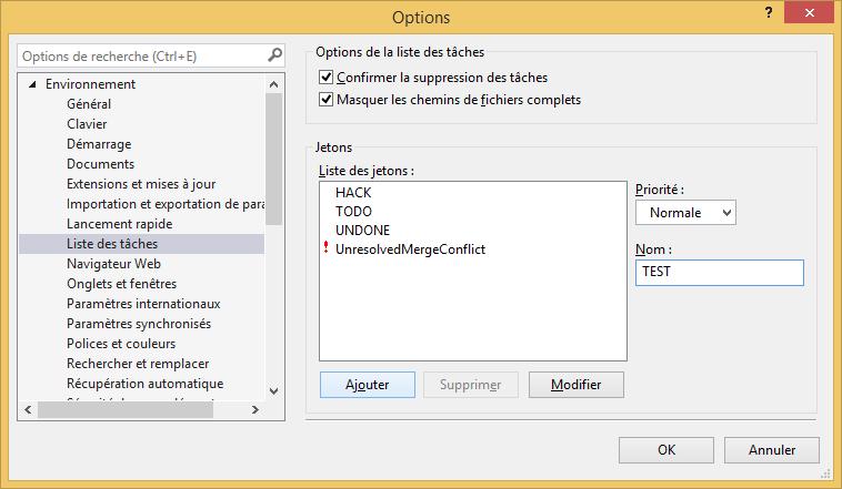 Ajout d'un jeton de tâche sur Visual Studio 2013