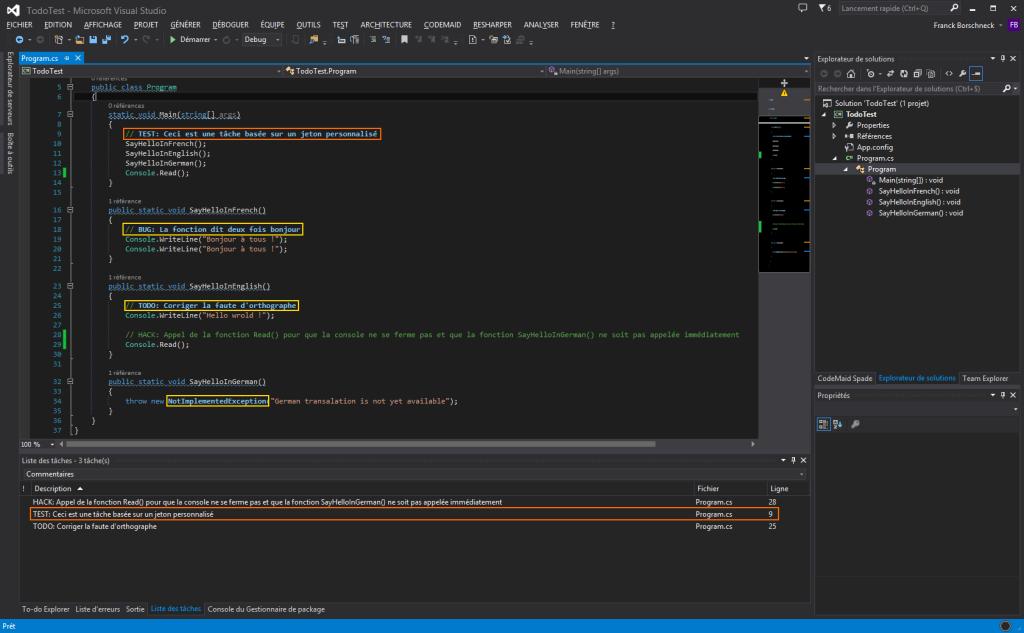 Association des commentaires et des tâches sur Visual Studio 2013