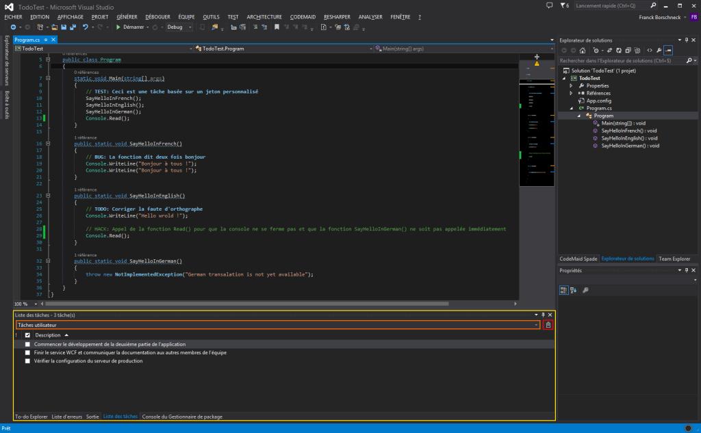 Liste des tâches utilisateur sur Visual Studio 2013